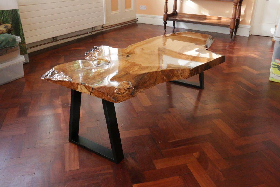 oak epoxy coffee table
