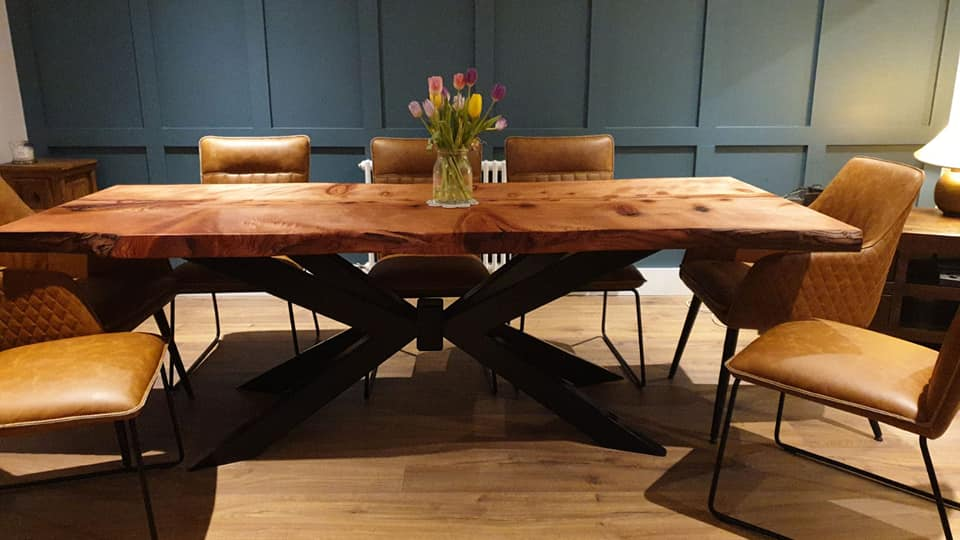 redwood dining table live edge sculpting