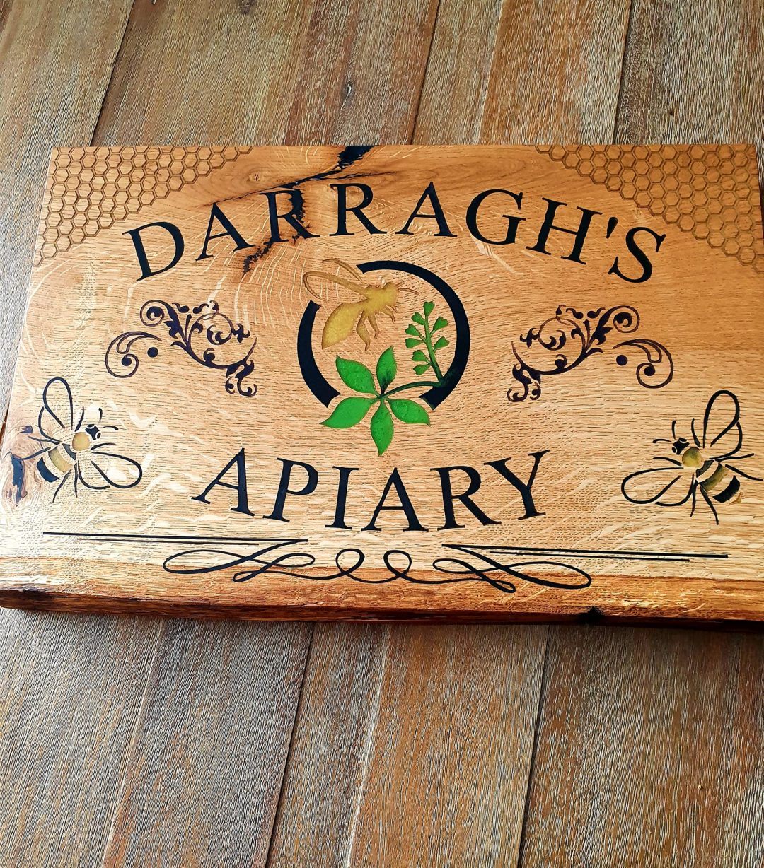 Wooden business name sign