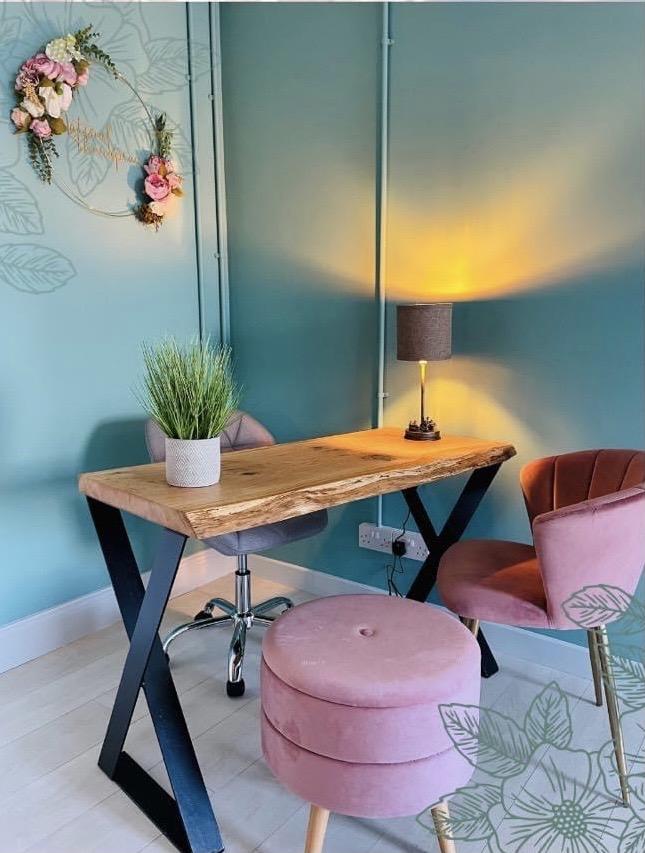 live edge wooden oak home office desk steel legs