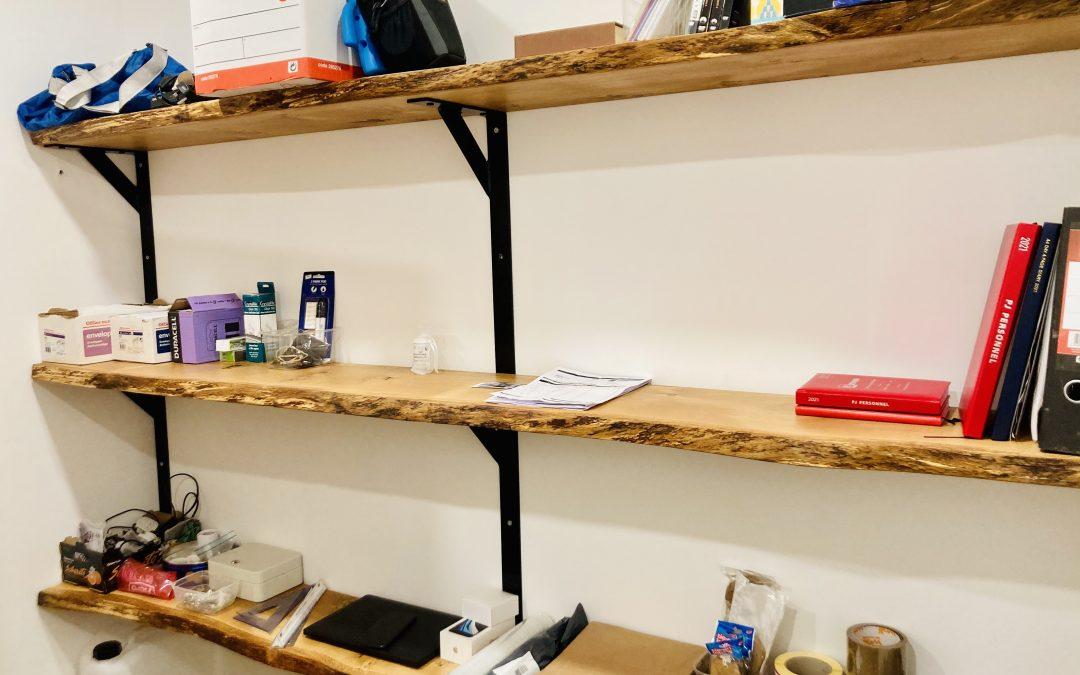 Oak live edge wooden office shelving