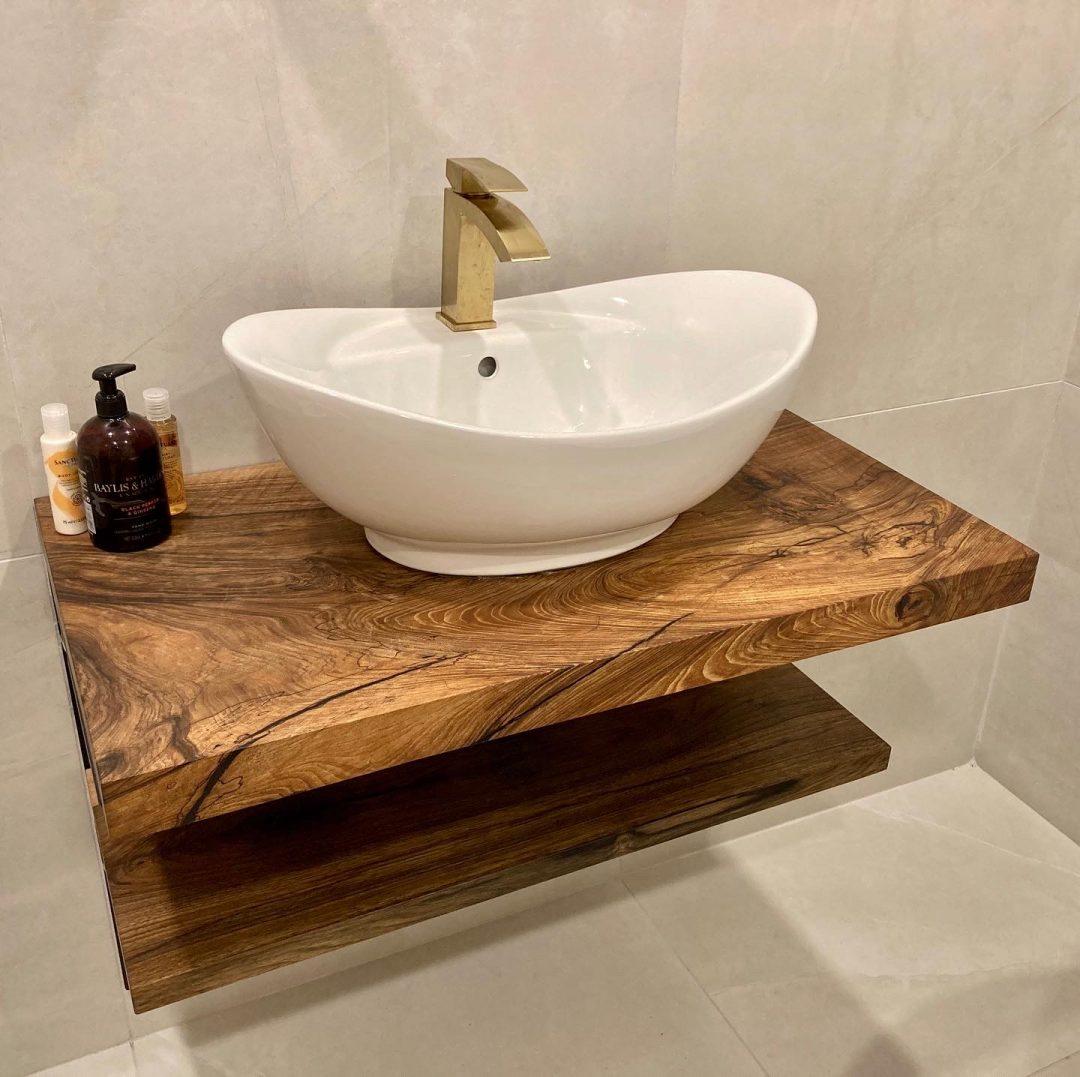 Luxurious walnut bathroom vanity