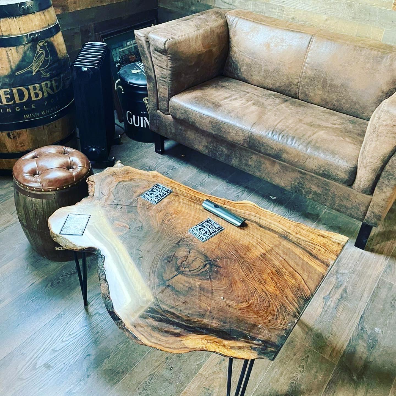 live edge industrial walnut coffee table steel legs